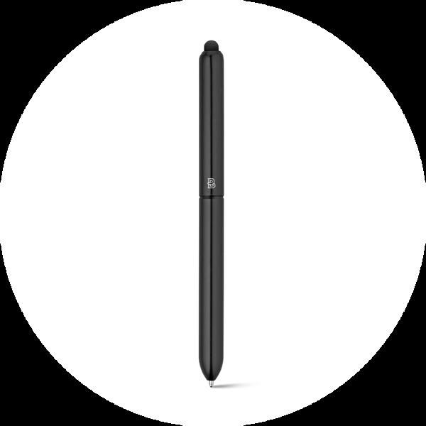 Branve NEO ballpen with exterior black finishing. Avant-garde, ergonomic aluminum ball pen.