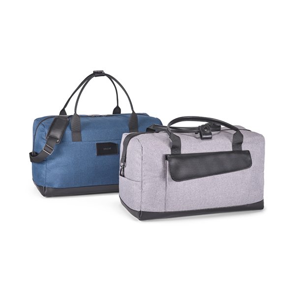 Branve MOTION Bag 2 versions: blue and light grey. Practical and stylish 600D cationic polyester travel bag with split leather with PU.